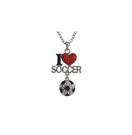 Crystal Rhinestone Jewelry I Love Soccer Pendant Necklace 8pc Wholesale Lot