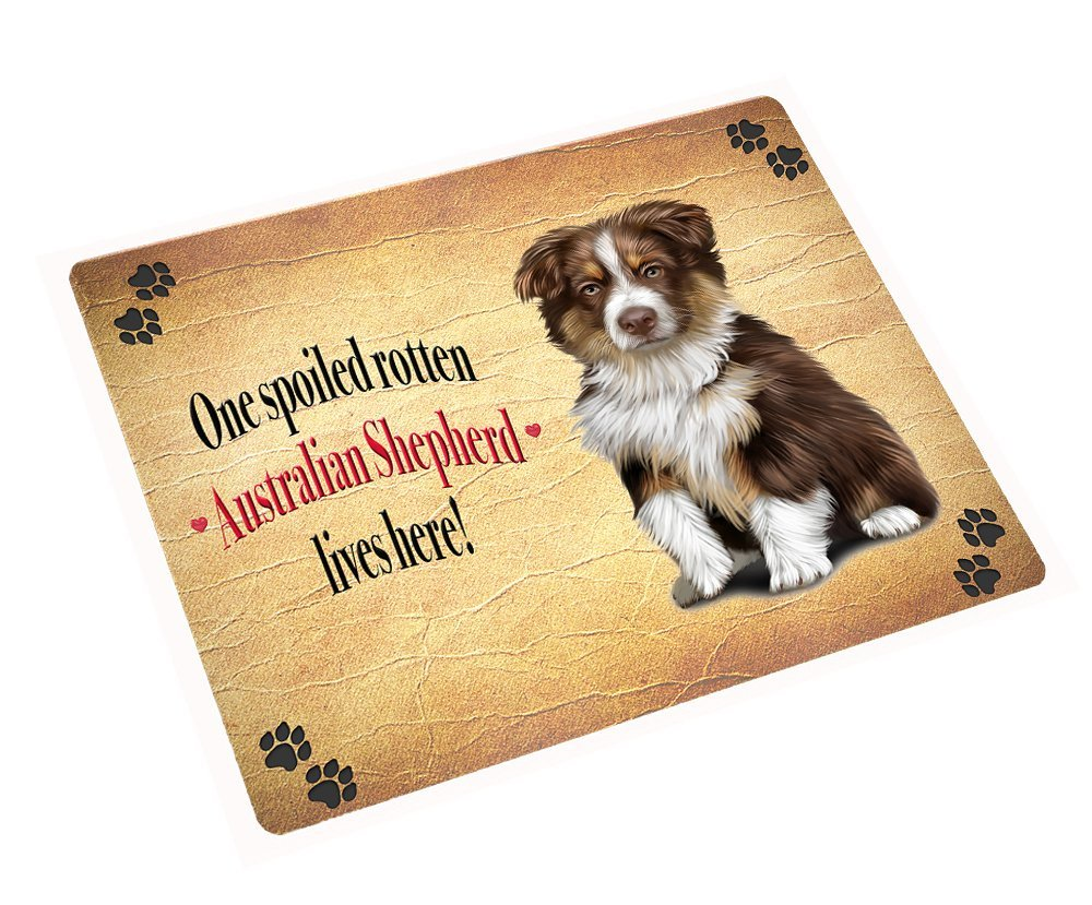 Australian Shepherd Brown Spoiled Rotten Dog Art Portrait Print Woven Throw Sher