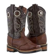 Boys Kids Dark Cognac Genuine Leather Durable Tough Rodeo Western Cowboy... - $40.48