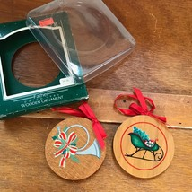 Vintage Lot of 2 Hallmark FATHER Painted Wood Round Christmas Tree Ornam... - $10.39