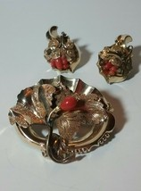 ANTIQUE VICTORIAN GOLD FILLED CORAL BROOCH PIN EARRINGS VINTAGE LEAVES SET - $200.00