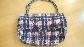 100% Auth CHANEL Matelasse Chain Shoulder bag Navy Nylon Quilted Crossbo... - $1,642.41