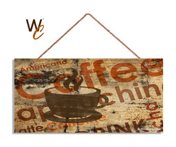 Coffee Sign, Coffee Typography, Rustic Grunge Style Background, 5x10 Woo... - $11.39