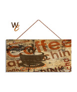 Coffee Sign, Coffee Typography, Rustic Grunge Style Background, 5x10 Woo... - $12.87