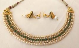 Indian Gold Plated Green Rhinestone Pearl Fashion  Wedding Jewellery Set India - $13.42