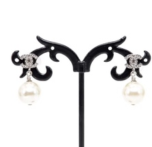 Authentic Chanel Classic Crystal CC Pearl Silver Dangle Drop  Earrings  image 4