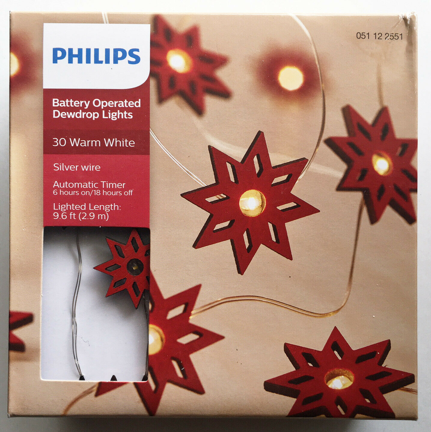 Philips 30 Warm White Fairy Red Star LED Dewdrop String Fairy Lights Timer NEW