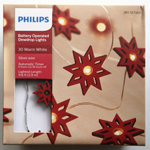 Philips 30 Warm White Fairy Red Star LED Dewdrop String Fairy Lights Timer NEW image 1