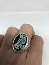 Vintage Men's Hawk Ring Silver White Bronze Black Turquoise Inlay Size 8.75 - $27.71