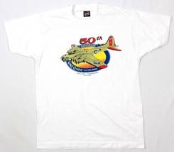 Vtg Best Mens T-shirt B-17G Flying Fortress White Tee Vintage 1985 50th Rare Usa - $34.03
