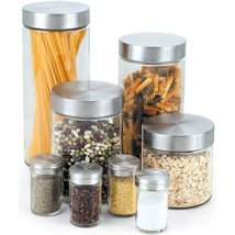 Cook N Home Glass Canister and Spice Jar Set, 8-Piece - £44.42 GBP