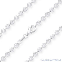 Moon Cut 4.1mm Ball Bead Chain Necklace in .925 Italy Sterling Silver w/... - $142.55+