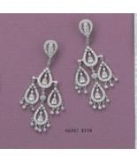 Sterling Silver Rhodium Plated Cubic Zirconia Pear Shape Chandelier Earr... - $109.95