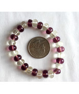 Purple and Clear Acrylic Bead Stretch Bracelet Handmade - $1.99