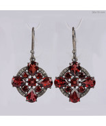 7.17Ct Garnet Dangle Earrings Solid 925 silver sterling Diamond Pave Jew... - $201.96