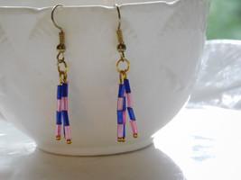pink and blue handmade earrings - $5.94