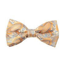 DBD7B02C Orange Blue Patterned Microfiber Mens Bow Tie Various For Party... - $19.36