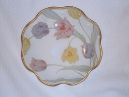 Signed 1986 LEFTON Rare Glass Bowl Tulips Flowers Painted on Back 6 inch - $19.79