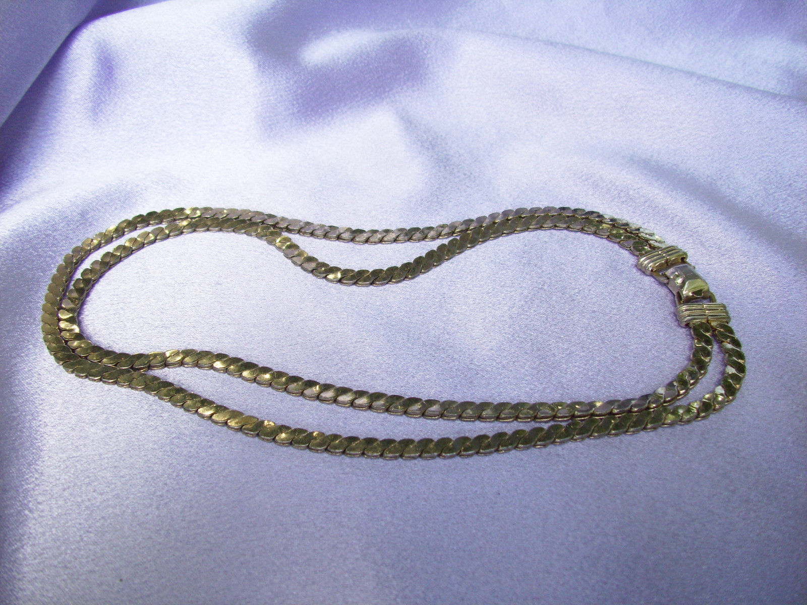 CORO PEGASUS 2 Strand Gold Plated Link Choker Chain Necklace Vintage Estate