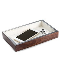 Bey Berk Lacquered Brown Burl Wood Open Face Valet Tray - $60.69