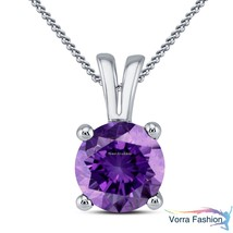 Daily Wear Solitaire Pendant Necklace Purple Amethyst White Gold Over 92... - £25.98 GBP
