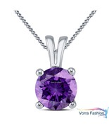 Daily Wear Solitaire Pendant Necklace Purple Amethyst White Gold Over 92... - $36.89
