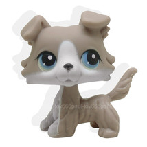 #67 Rera Littlest Pet Grey Brown Collie Dog Puppy Blue Eyes LPS Animal - $20.99