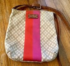 KATE SPADE Tan Canvas Monogram Striped Red Pink Handbag purse Bag Spade bag - $92.06 CAD