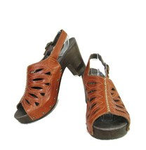 Dansko Brown Leather Sandals Size 9.5M-10M 40 Ankle Strap Heeded Peek A Boo - $34.64