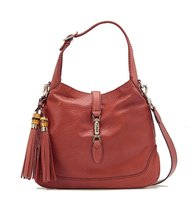 Gucci Women's Jackie Leather Pink Coral Shoulder Bag with Bamboo Tassels... - $3,750.00