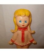 """Vintage Doll Sun Rubber Inc 8"""" Does Not Squeak Pink Yellow Braided Hair - $24.89"""