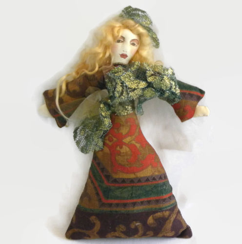 Handmade DOLL Princess Medieval Fabric Rag Painted Brocade SF/Bay area Artist CA