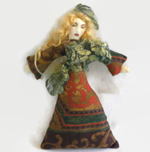 Handmade DOLL Princess Medieval Fabric Rag Painted Brocade SF/Bay area A... - $57.42