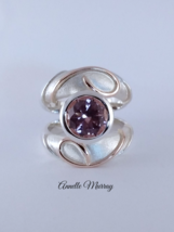 Handmade Sterling Silver & 14ct rose gold detail ring set with a cubic zirconia  - $275.00