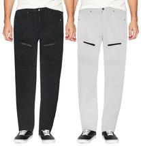 LR Scoop Men's Casual Stretch Denim Pants Moto Quilt Zipper Fashion Solid Jeans image 1