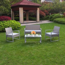 4 PC Rattan Furniture Set Conversation Sectional Wicker Lawn Deck Cushio... - $219.99