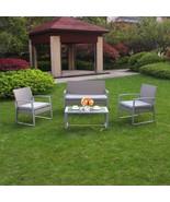 4 PC Rattan Furniture Set Conversation Sectional Wicker Lawn Deck Cushio... - $209.99