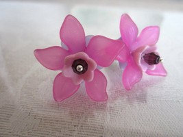 Handmade Fuchsia Pink & Purple Multi Layered Pop Flower Silver Tone Earr... - $6.65