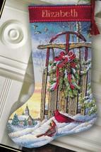 Dimensions Christmas Sled Snow Cardinals Birds Cross Stitch Stocking Kit... - $46.95