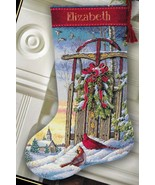 Dimensions Christmas Sled Snow Cardinals Birds Cross Stitch Stocking Kit... - $46.95