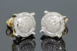 Women's Round Cut White CZ Attractive Stud Earrings 14k Gold Plated 925 Silver - $110.04