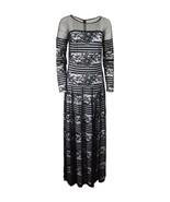 Tadashi Shoji Women's Floral Stripped illusion Dress gown Black 12 [2354-1] - $232.28