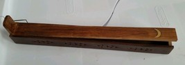 Incense Burner / Ash Catcher Carved Wood  Moon Inlay with storage