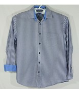 Tasso Elba Mens Long Sleeve Dress Shirt, Blue, Plaid/Stripped Size Large... - $18.70