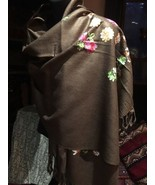 Vintage Style Embroidered Flower Print Pashmina Fringed Wrap Shawl - $27.72