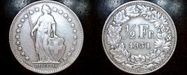 1931-B Swiss Half Franc World Silver Coin - Switzerland - $19.99