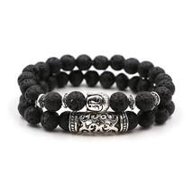 2 Pcs/set Antique Silver Buddha Head Charm Bracelets Homme Lava Stone Be... - $13.21