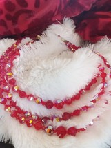 Vintage Cherry Red Faceted Cut Crystal Triple Strand Necklace - $25.00