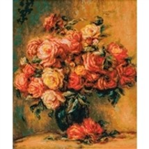 RIOLIS Counted Cross Stitch Kit, Bouquet Of Roses-Renoir, Kit #R1402 - $93.51