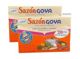 2pck Sazon Goya Con Culantro Y Achiote Coriander & Annatto Low Sodium Se... - $11.87